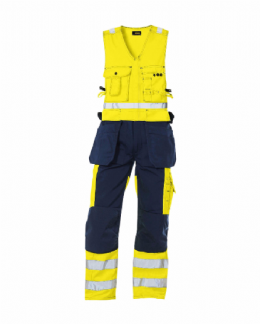 Blaklader 2653 High Vis, Sleeveless Overall (Yellow/Navy Blue)